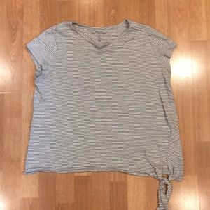 Short sleeves grey stripped tie T-shirt